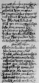 Figure 4 (fol 10v, column b). The first three lines have been cancelled and are repeated in their correct place in the following stanza. The rhyme scheme shows that in each case there is a line missing between 'yn hac lacrimarum vale' and 'o clemens virgo maria'.