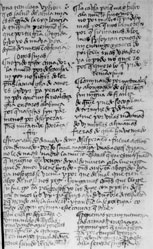Figure 8 (fol 7r, whole page). The copyist made sure that the poem 'No pido triste amador' finished in column b, so that the ensuing romance could be written across the page and the embedded cantar 'Son en canpo desperança' could be set off by reverting to two-column format.